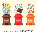 recycling garbage elements... | Shutterstock .eps vector #633607553