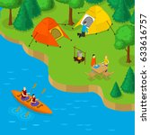 isometric camping and active... | Shutterstock .eps vector #633616757