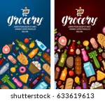 grocery  food shop  supermarket ... | Shutterstock .eps vector #633619613