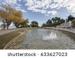 Small photo of BARCELONA,SPAIN-DECEMBER 18,2014: Fountain, pond, garden, Mirador alcalde by Carles Buigas, Park Montjuic, Barcelona.