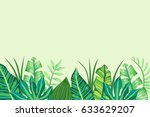 green tropical background with... | Shutterstock .eps vector #633629207