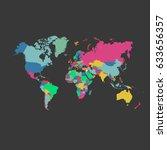 world map vector on gray... | Shutterstock .eps vector #633656357