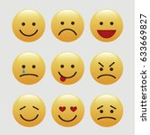 set of emoticons  icon pack ... | Shutterstock .eps vector #633669827