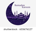 ramadan kareem. mosque and a... | Shutterstock .eps vector #633676127
