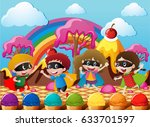 happy children in hero costume... | Shutterstock .eps vector #633701597