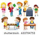 students doing different... | Shutterstock .eps vector #633704753
