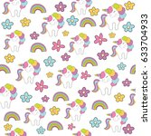 seamless baby pattern with cute ... | Shutterstock .eps vector #633704933