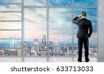 businesswoman look in window. | Shutterstock . vector #633713033