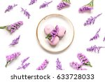 spring woman breakfast with... | Shutterstock . vector #633728033