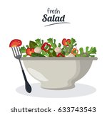 fresh salad bowl with... | Shutterstock .eps vector #633743543