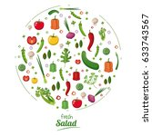 fresh salad food nutrition... | Shutterstock .eps vector #633743567