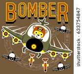 army bear the jet pilot  vector ... | Shutterstock .eps vector #633754847