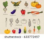 hand drawn vegetable in retro... | Shutterstock .eps vector #633772457