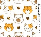 cute cat face seamless pattern... | Shutterstock .eps vector #633787097