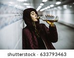 Small photo of Homeless Alcoholism Woman Drinking Alcohol