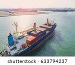 container vessel ship under... | Shutterstock . vector #633794237