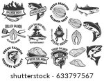 salmon meat labels and badges.... | Shutterstock .eps vector #633797567