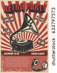 retro party. vintage gramophone ... | Shutterstock .eps vector #633797573