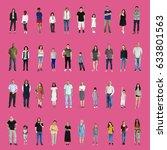 diversity people set gesture...   Shutterstock . vector #633801563