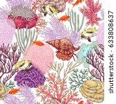 hand drawn underwater natural...   Shutterstock .eps vector #633808637