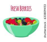 fresh berries in cup. raspberry ...   Shutterstock . vector #633809453
