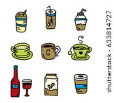 vector set of beverages doodle | Shutterstock .eps vector #633814727