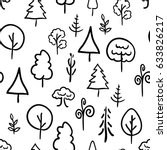 a lot of hand drawn trees on... | Shutterstock .eps vector #633826217