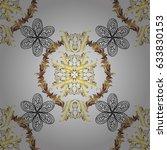 golden pattern on gray... | Shutterstock .eps vector #633830153