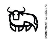 linear stylized drawing of bull ... | Shutterstock .eps vector #633832373