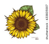 sunflower vintage engraved... | Shutterstock .eps vector #633835007