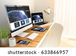 digital generated devices over... | Shutterstock . vector #633866957