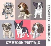 Stock vector set of a different cartoon puppies vector illustration 633869333