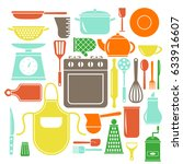 vector colorful kitchen icons... | Shutterstock .eps vector #633916607