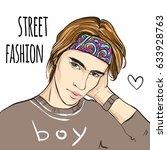 fashion man vector portrait.... | Shutterstock .eps vector #633928763