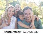 portrait of happy family in... | Shutterstock . vector #633931637