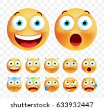 set of cute emoticons on white... | Shutterstock .eps vector #633932447