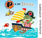 turtle the pirate on the sail... | Shutterstock .eps vector #633948893