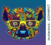 vector ornament face of lemur... | Shutterstock .eps vector #633948917