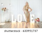 fashion. woman in golden dress | Shutterstock . vector #633951737