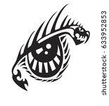 tribal dragon eye. fantastic... | Shutterstock .eps vector #633952853