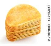 piles of potato ships isolated... | Shutterstock . vector #633953867