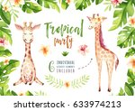hand drawn watercolor tropical... | Shutterstock . vector #633974213