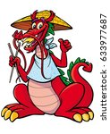 chinese dragon with chopsticks | Shutterstock .eps vector #633977687