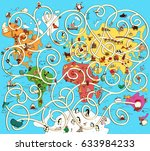 great map of the world maze...   Shutterstock .eps vector #633984233