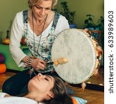 indian drum in sound therapy | Shutterstock . vector #633989603