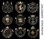 set of luxury heraldic vector... | Shutterstock .eps vector #634007447