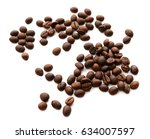 handful of coffee beans isolated | Shutterstock . vector #634007597