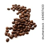 coffee grains and leaves... | Shutterstock . vector #634007633