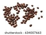 coffee beans isolated on white... | Shutterstock . vector #634007663