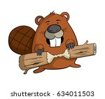 Cartoon Beaver With A Piece Of...